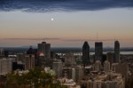 Moon rising over Montreal