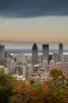 Moon rising over Montreal in Autumn